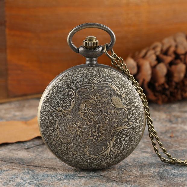 Vintage Quartz Analog Pocket Watch For Men Train Pattern Pocket Watches For Boys Quartz Pendant Necklace Pocket Watch For Teen