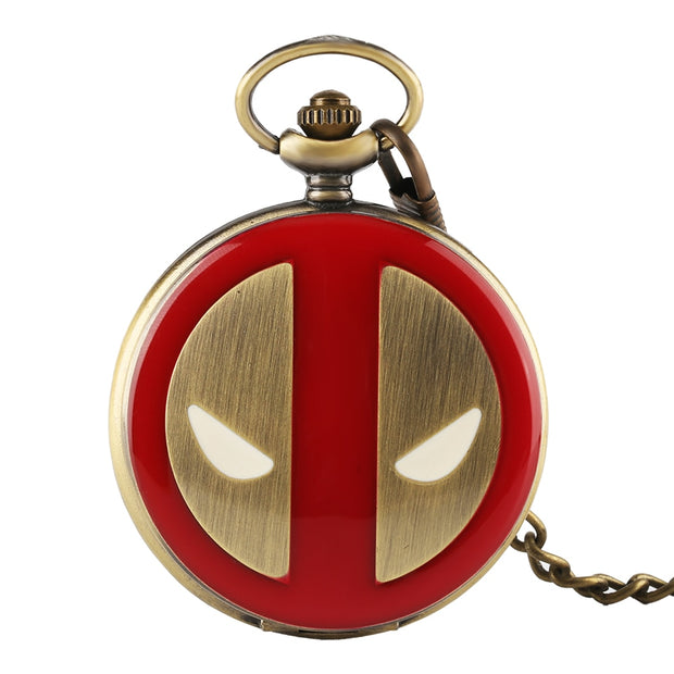 Vintage Red DEADPOOL Theme Pocket Watch Unisex Hero Copper Bronze Quartz PocketWatches Men Women Pedant Clock With Chain Gift