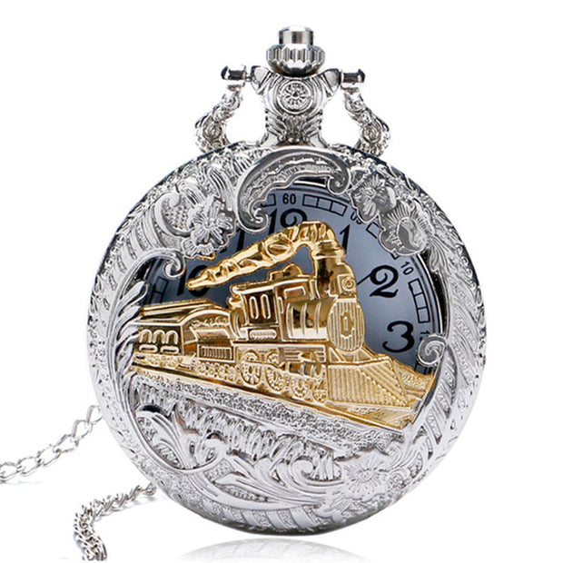 Vintage Silver Case Gold Train Locomotive Hollow Quartz Pocket Watch Necklace Pendant Ms. Men's Gift