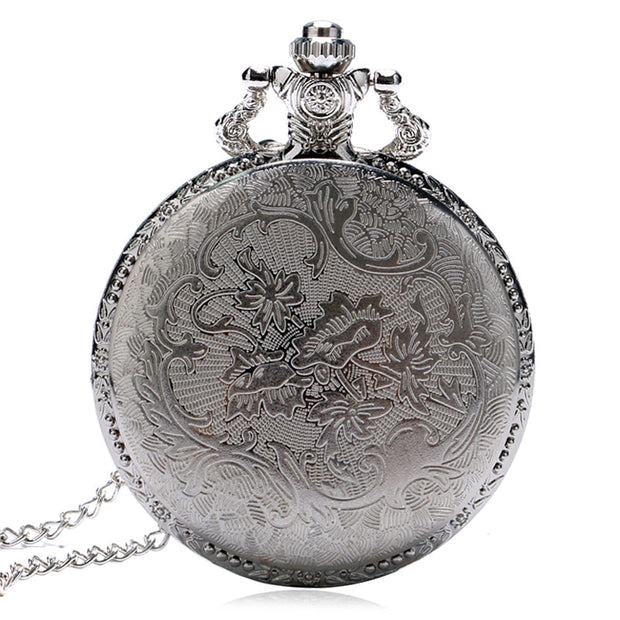 Vintage Silver Case Golden Train Locomotive Hollow Quartz Pocket Watch Clock Hour Necklace Pendant Women Men's Christmas Gifts