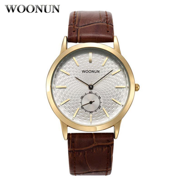 WOONUN Top Brand Luxury Gold Watches Men Genuine Leather Band Small Seocnds Quartz Watches Men Casual Ultra Thin Watches For Men