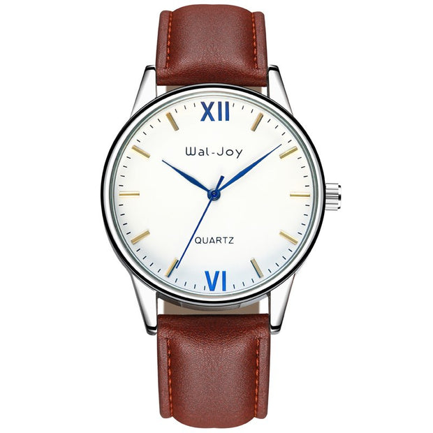 Wal-Joy Brand Fashion Simple Casual Men Watches Wrist Leather Watches For Men Black