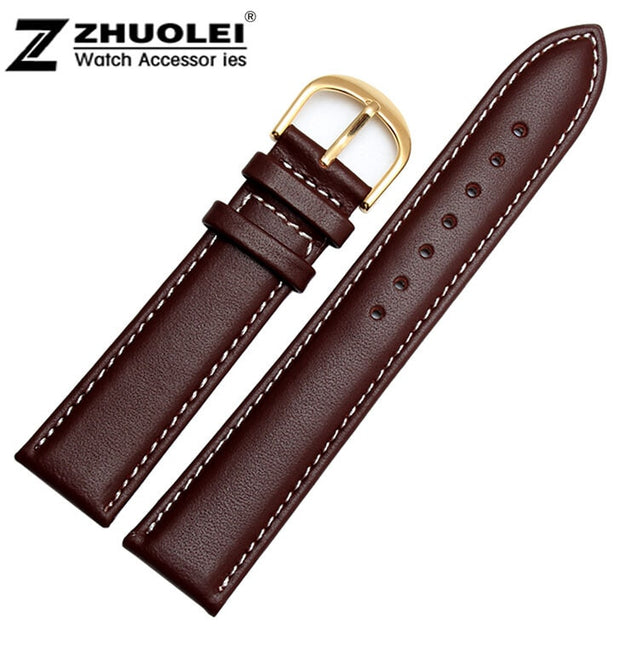 Watch Strap 18mm 19mm 20mm 22mm New Mens High Quality Genuine Leather Watchbands Strap Bracelets With Gold Watch Buckle