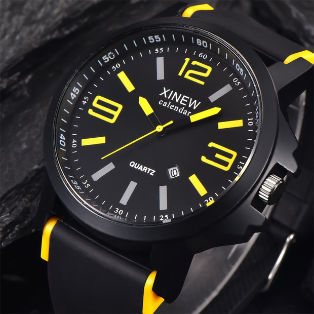 Watches Men Luxury Top Brand XINEW Fashion Rubber Men's Big Dial Designer Quartz Watch Male Wristwatch Relogio Masculino Relojes