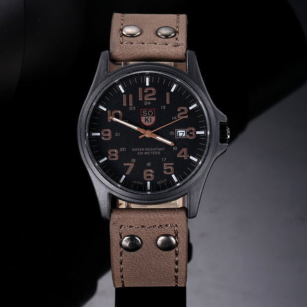 Watches Men Vintage Classic Men Waterproof Date Leather Strap Sport Quartz Army Watch Male Wristwatch Relogio Masculino Re #1213