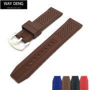 Way Deng - Women Men Sports Ultra Soft Breathable Silicone Rubber Watchband 20mm 22mm Deploy Pin Buckle Watch Strap Band - Y129