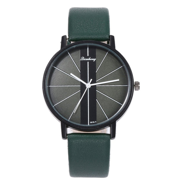 Wholesale Chic Linear Design Faux Leather Band Round Dial Analog Women Quartz Wrist Watch