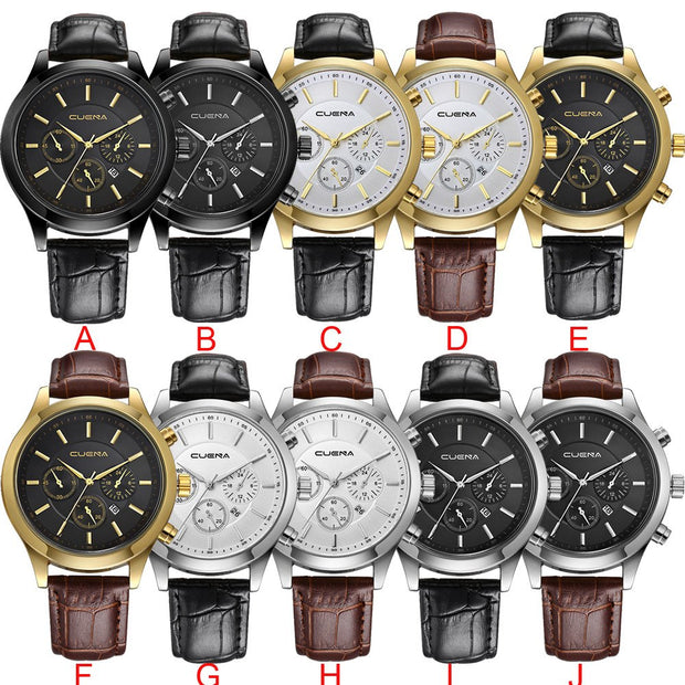 Wholesale Men's Leather Military Alloy Analog Quartz Wrist Watch Business Date Watches Fashion Watches For Men #by