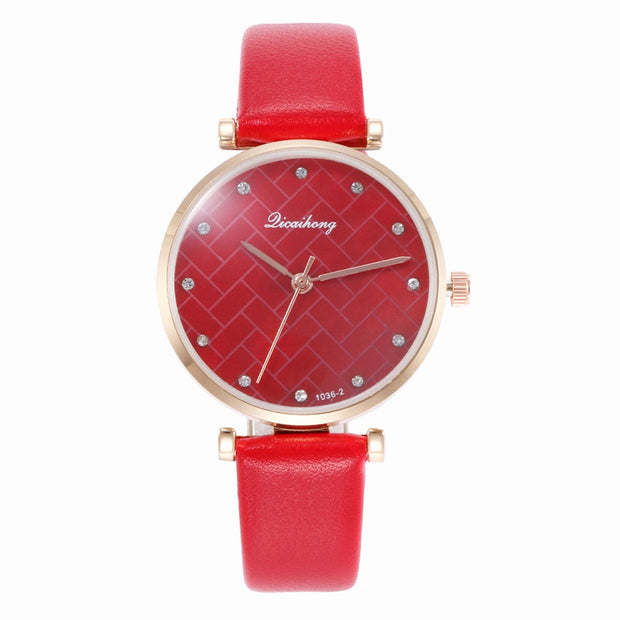 Wholesale Women Shell Grid Rhinestone Dial Faux Leather Band Analog Quartz Wrist Watch