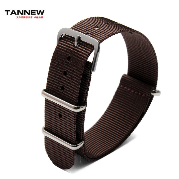 Wholesale Prices High-quality Coffe Brown Zulu 18mm 20mm 22mm 24mm Waterproof Nylon Strap NATO Strap With Black Buckle Rings
