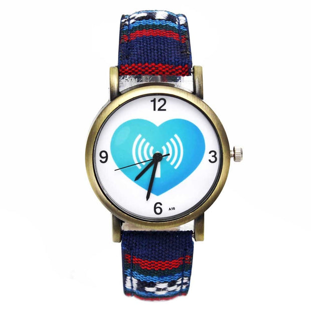 """ Wireless Love Wifi Receiver "" Green Heart Funny Quartz Watches Men Women Lovers Watch Fashion Casual Stripes Denim Wristwatch"