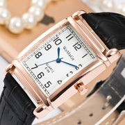 Womage Brand Lady Fashion Leather Band Rectangle Watch Rose Gold Square Dial Women Casual Bracelet Quartz Casual Wristwatches