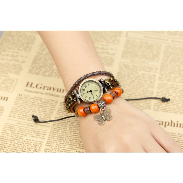 Women Girl Vintage Watches Bracelet Wristwatches Leather Butterfly Pendant Bronze Girls Gift Ladies Hot Sale Wrist Watches 2018