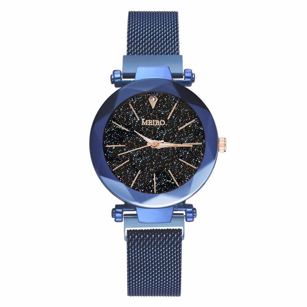 Women Mesh Magnet Buckle Starry Sky Watch Casual Luxury Ladies Geometric Surface Quartz Wristwatches Relogio Feminino