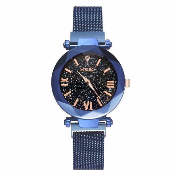 Women Mesh Magnet Buckle Starry Sky Watch Casual Luxury Ladies Geometric Surface Roman Numeral Quartz Watches Relogio Feminino