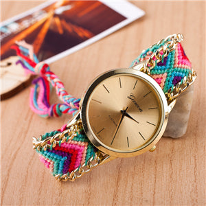 Women Native Handmade Quartz Watch Knitted Dreamcatcher Friendship Watch Relojes Mujer Drop Shipping