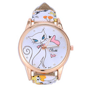 Women Orange Flower Pattern Band Cat Pattern Dial Quartz Analog Wrist Watch 24cm