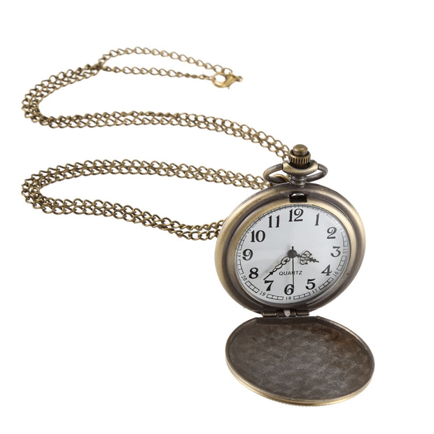 Women'S Pocket Watch Large Engraved Women'S Bronze Quartz Pendant Vintage Wall Chart
