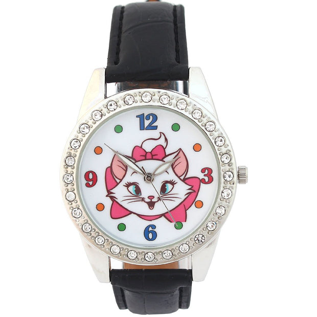 Women WATCH Cute Fashion Quartz Lady Girl Watch Leather Strap Student Wristwatch Gifts Colorful Number Dial Clock U82E