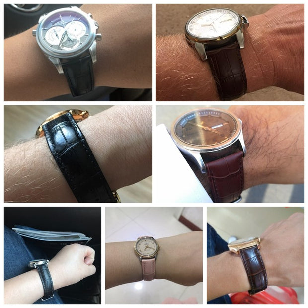 Women Watchband Genuine Cowhide Croco Pattern Red Color Silver&Rose Gold &Gold 12mm 14mm 16mm 18mm 19mm 20mm 21mm 22mm