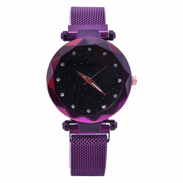 Women Watches Luxury Stainless Steel Mesh Magnet Buckle Starry Wristwatch Crystal Geometric Quartz Watch Ladies Clock Relojes