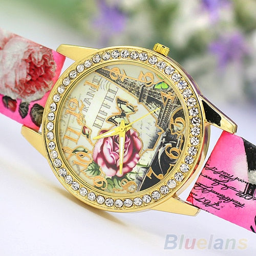 Women's Eiffel Tower Rose Pattern Printed Rhinestone Analog Quartz Wrist Watch Relogio Masculino