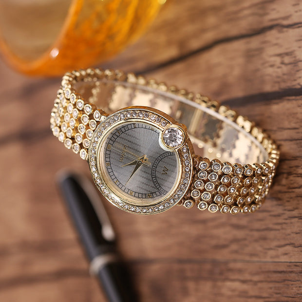 Women's Fashion Stainless Steel Band Rhinestone Analog Quartz Wrist Watches
