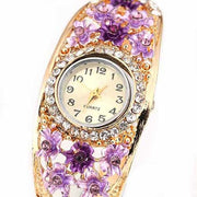 Women's Flower Golden Color Crystal Bracelet Analog Quartz Dress Wrist Watch