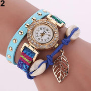 Women's Inlaid Rhinestone Leaf Shell Rivet Faux Leather Braided Band Wrist Watch Bracelet