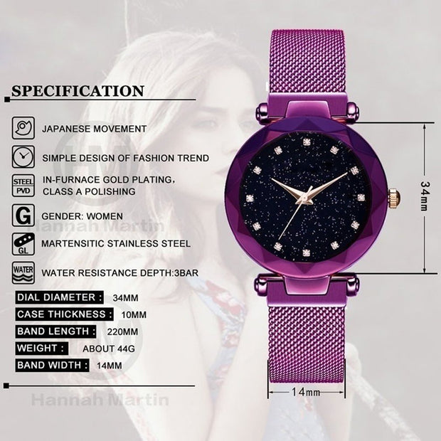 Women's Quartz Watches Starry Sky Pattern Simple Mesh Steel Bracelet Wrist Watch Magnet Strap Fashion Luxury Ladies Dress Clock