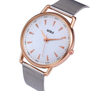 Womens Fashion Classic Gold Quartz Stainless Steel Wrist Watch