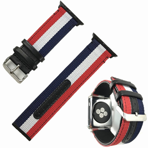 Woven Oxford Bracelet For Apple Watch 4 40MM 44MM Genuine Leather Leisure Watchband For Iwatch Series 4 Series 3 38MM/42MM Strap