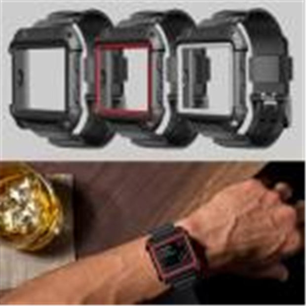 Wristband Watch 2018 New Rugged Protective Case With Silicone Wrist Strap Bands For Fitbit Blaze Watch 24cm #0703