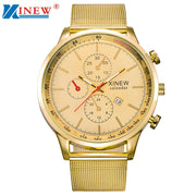 XINEW Brand LuxuryLuxury Mens Quartz Wrist Watch Date Gunmetal Stainless Steel Sport Army Montre Men's Business Watches#77