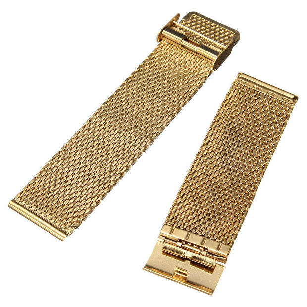 YCYS!New 18mm Watch Strap Shark Mesh Band Stainless Double Clasp Steel Bracelet Gold