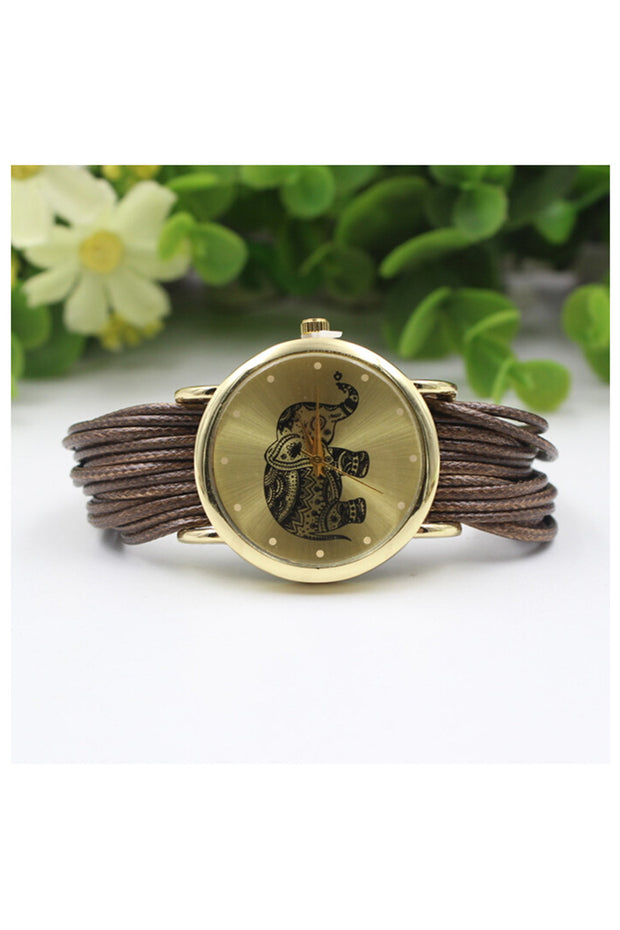 YCYS!Women's Elephant Dial Braided Wrap Bracelet Wrist Watch Dark Brown