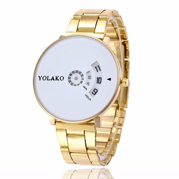 YOLAKO Brand Silver & Gold Steel Creative Camera Concept Brief Simple Special Digital Discs Hands Quartz Watches Montre Femme