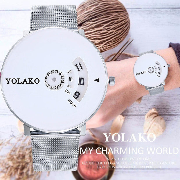 YOLAKO Silver Mesh Belt Watches Creative Camera Concept Brief Simple Special Digital Discs Hands Quartz Watches Montre Femme