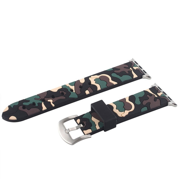 YUKIRIN Camouflage Silicone Band For Apple Watch Series 4 3 2 1 Replaceable Bracelet Strap For IWatch 42mm 38mm 44mm 40mm