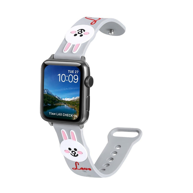 YUKIRIN Lovely Bunny Cony Silicone Sport Band For Apple Watch Series 4 3 2 1 Wrist Strap For IWatch Kid Girl 44mm 42mm 40mm 38mm