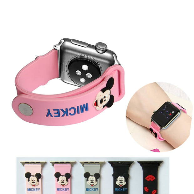 YUKIRIN Lovely Mickey Mouse Silicone Sport Band For Apple Watch Series 4 3 2 1 Wrist Strap For IWatch Kid Girl 44mm 42mm 40mm 38