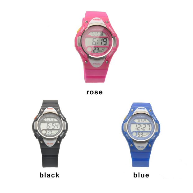Young Girls Children Student Digital LED Quartz Watches Sports Waterproof Water Resistant Silicone Band Wrist Watch Reloj