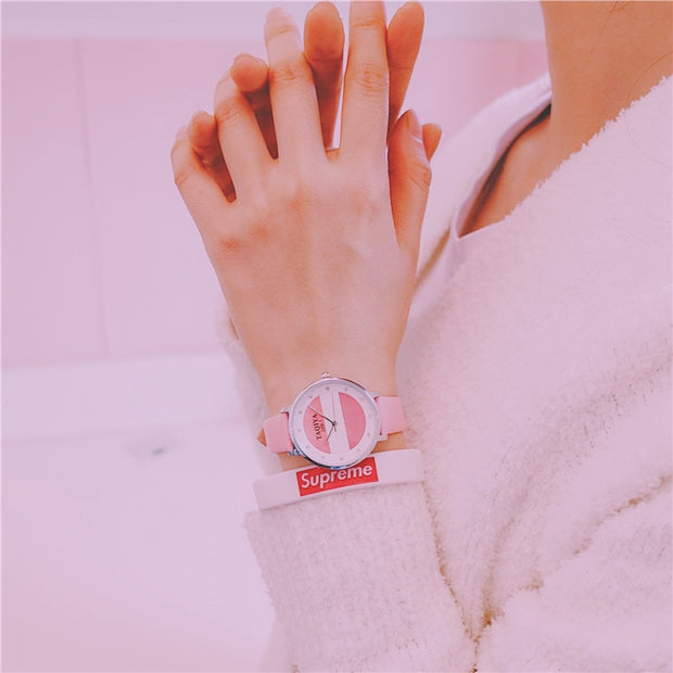 ZYLAN 2018 Cute Young Women Slim Wristwatch Colourful Lovely Unique Girls Children Leather Quartz Watches Hours Bracelets