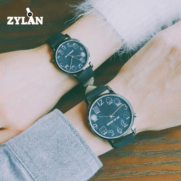 ZYLAN Cool Women Quartz Watches Lovely Pattern Dial Leather Ladies Wristwatch Female Leisure Watch Brown Black White Hours