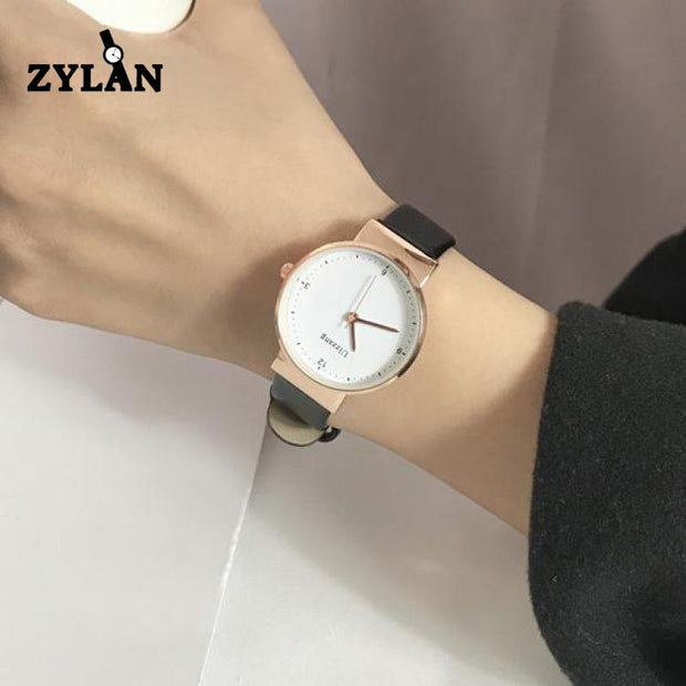 ZYLAN Simple Men Women Dress Quartz Watches Luxury Rose Leather Ladies Business Wristwatch Female Leisure Classical Watch Hours