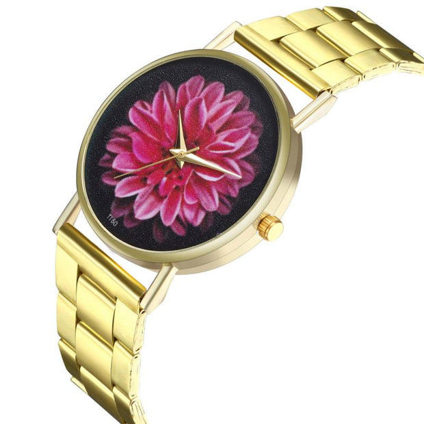 Zhoulianfa Fashion Steel Strap Flower Pattern Watch Women Quartz Wristwatches Gold