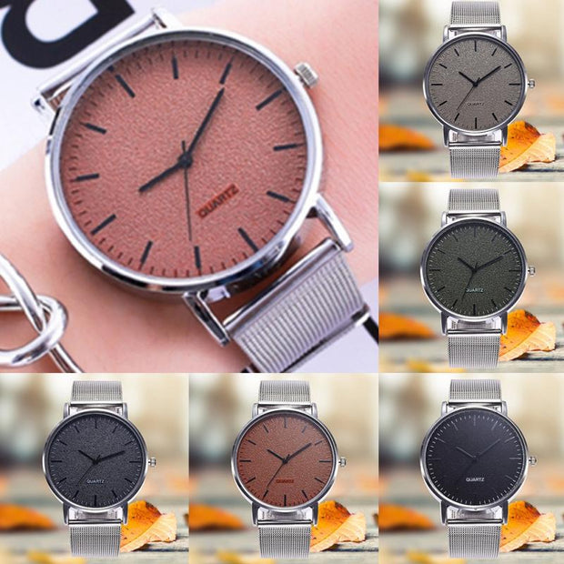 Zhoulianfa Steel Mesh Great Decoration Quartz Watch Round Dial Casual Unisex Wristwatch