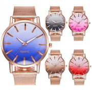 Zhoulianfa Women Gradient Color Cutting Dial Mesh Strap Alloy Quartz Watch Wristwatch