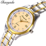 Chaoyada 2018 Fashion Luxury Watch Stainless Steel Quality Ladies Quartz Watch Men Roman Numerals Watches