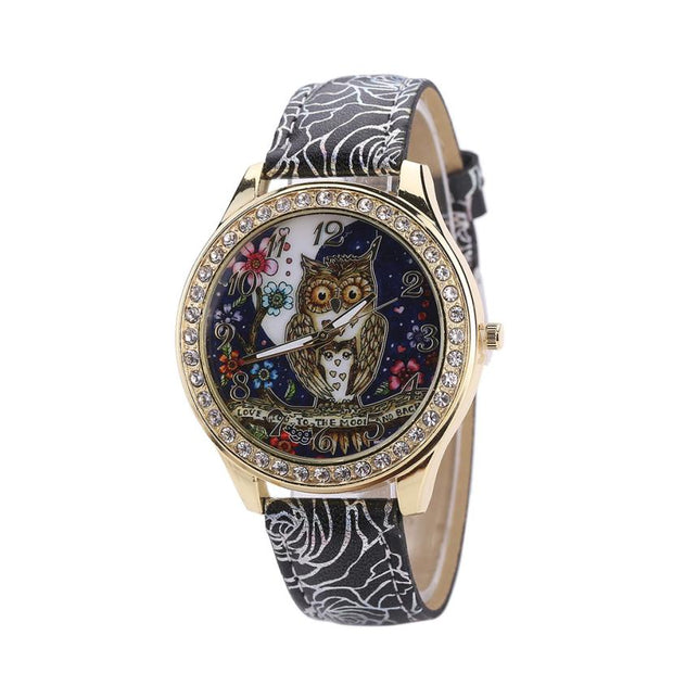 Fashion Watch Male And Female Universal Cartoon Owl Couple Models Diamond Quartz Watch
